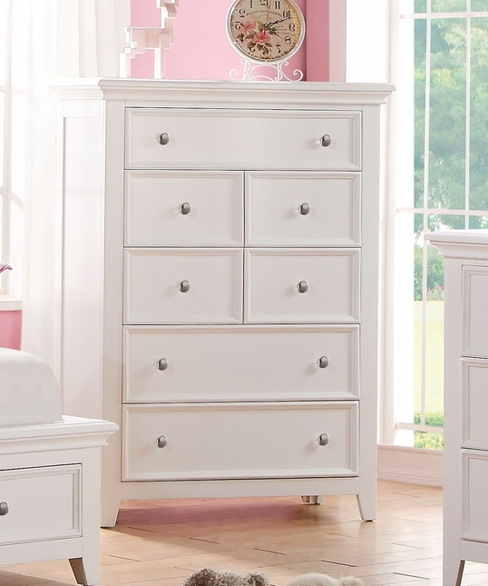 Lacene Kids Traditional Girl's Youth 5-Drawer Chest in White Finish