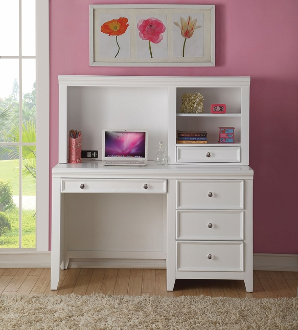 Lacene Kids Traditional Girl's Youth Computer Desk w/ Hutch in White Finish