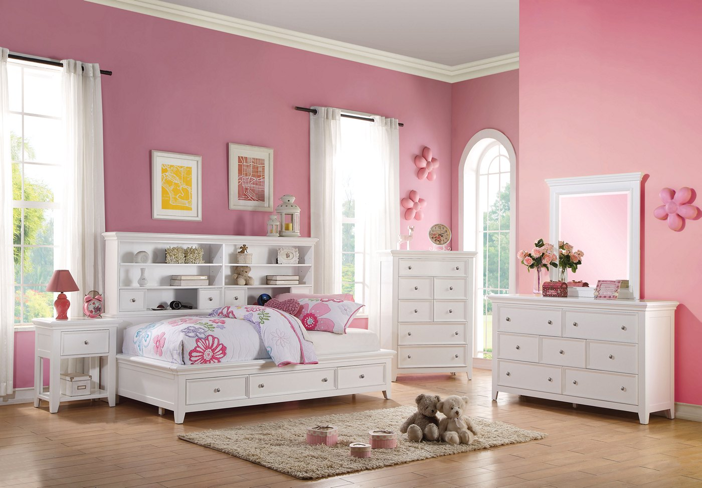 Lacene Kids Traditional Girl's Youth Full Daybed w ...
