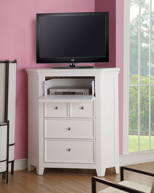 Lacene Kids Traditional Girl's Youth Corner TV Console in White Finish