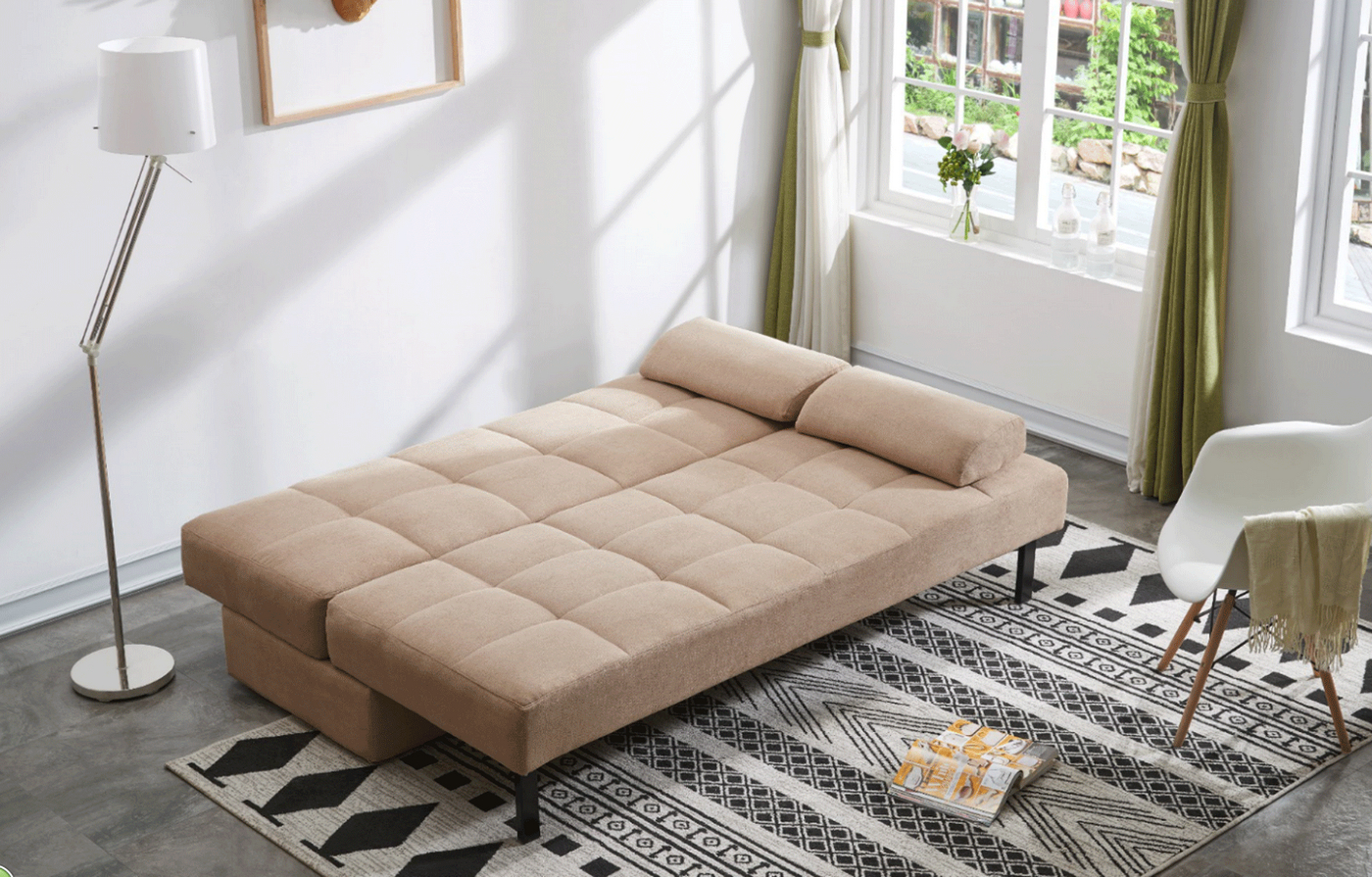 Lacey Contemporary Tufted Beige Linen Sleeper Sofa With