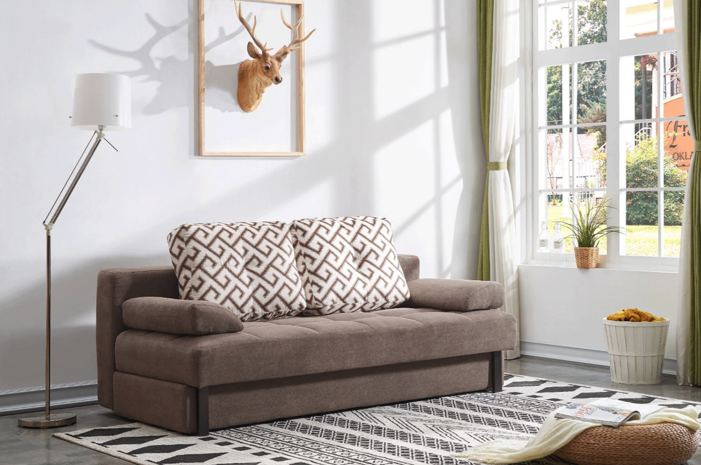 Lacey Contemporary Tufted Brown Linen Sleeper Sofa With