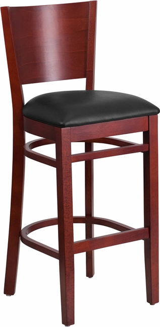 Lacey Series Solid Back Mahogany Wooden Restaurant Barstool - Black Vinyl Seat