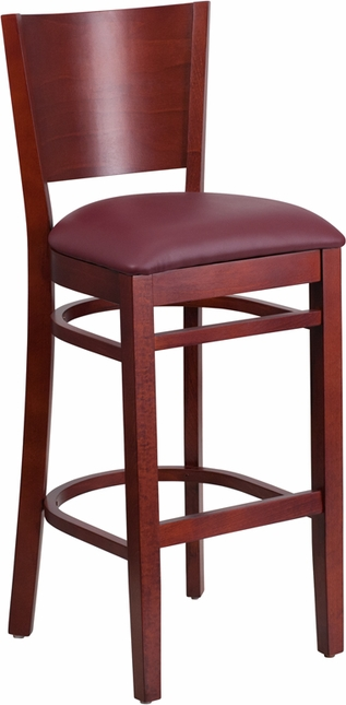 Lacey Series Solid Back Mahogany Wooden Restaurant Barstool Burgundy Vinyl Seat