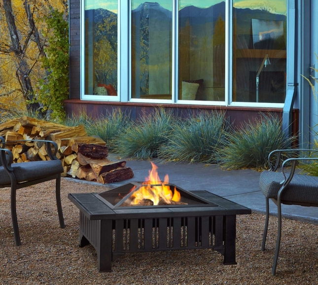"""Lafayette Outdoor 34"""" Square Fire Pit In Black With Dark Slate Top"""