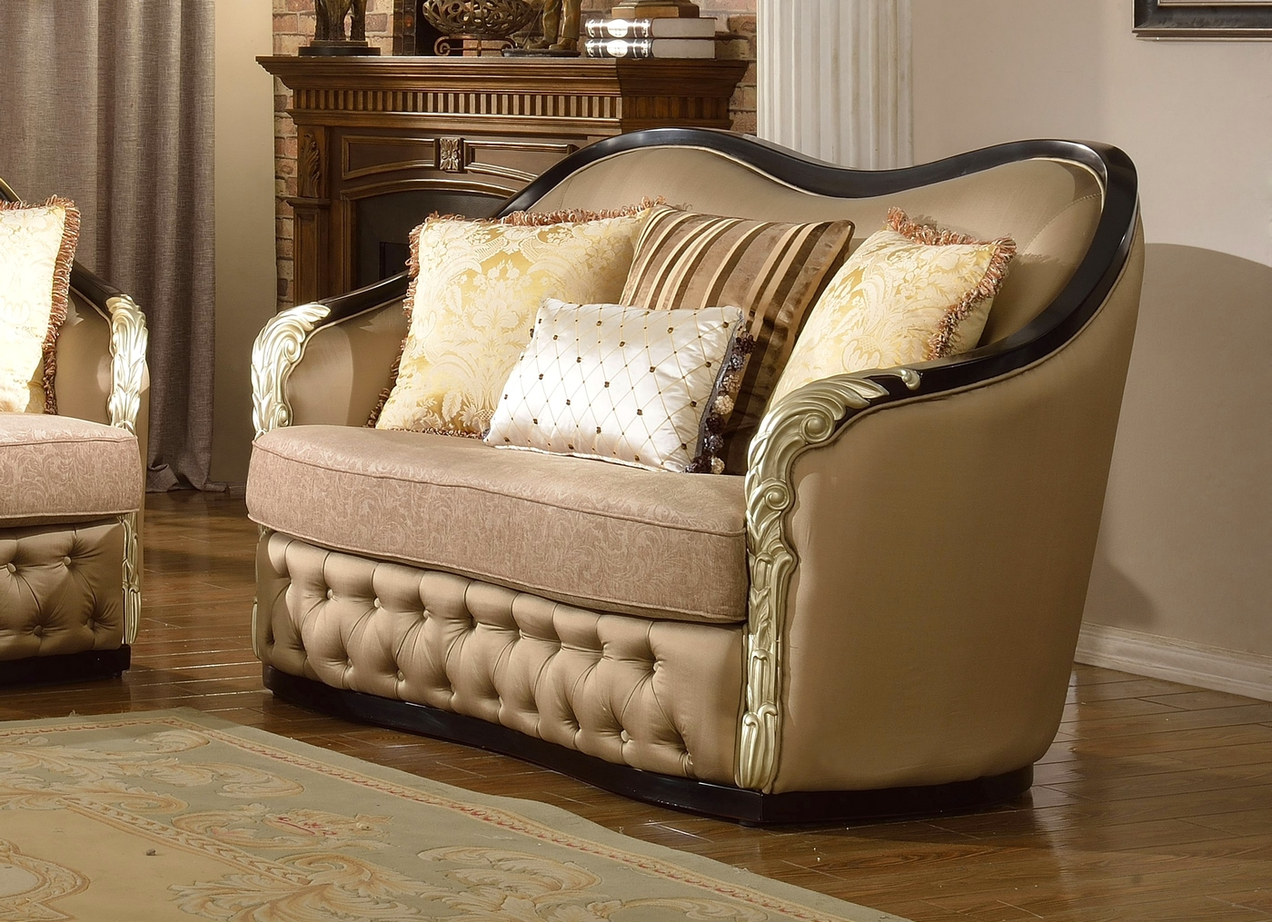 Lafayette Traditional Curved Beige Sofa Amp Loveseat With
