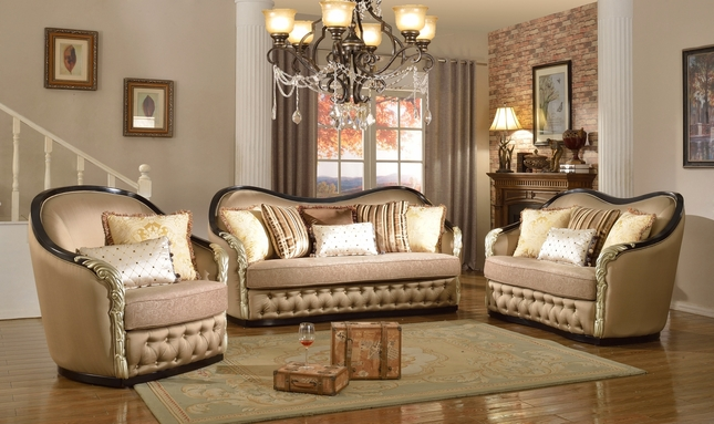 Lafayette Traditional Curved Beige Sofa U0026 Loveseat With Black U0026 Gold Wood  Frame