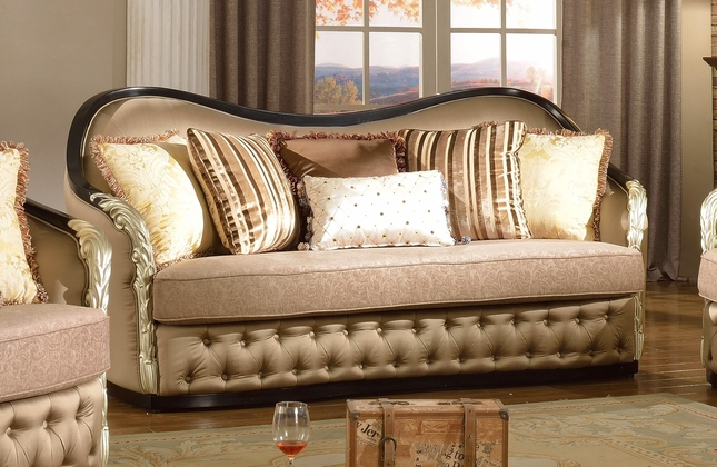 Lafayette Traditional Curved Beige Sofa With Black Amp Gold