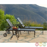 Laguna 3pc Cast aluminum Outdoor Chaise Set with Sunbrella Fabric - 10846106