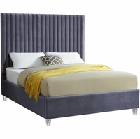 Laila Contemporary Grey Velvet Platform Queen Bed w/Channel Tufted Oversized Headboard