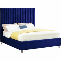 Laila Contemporary Navy Velvet Platform Queen Bed w/Channel Tufted Oversized Headboard