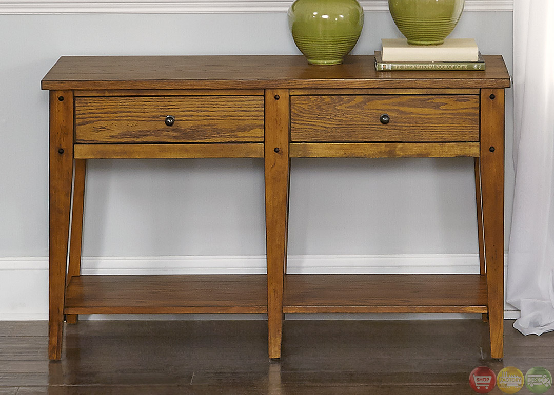 Lake House 3 Piece Oak Transitional Occasional Table Set