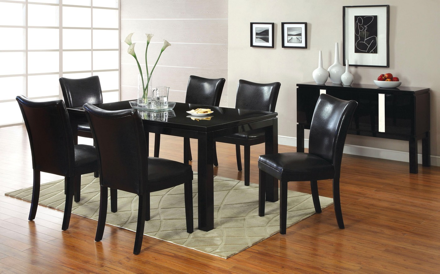 Lamia I Contemporary Black Casual Dining Set with ...