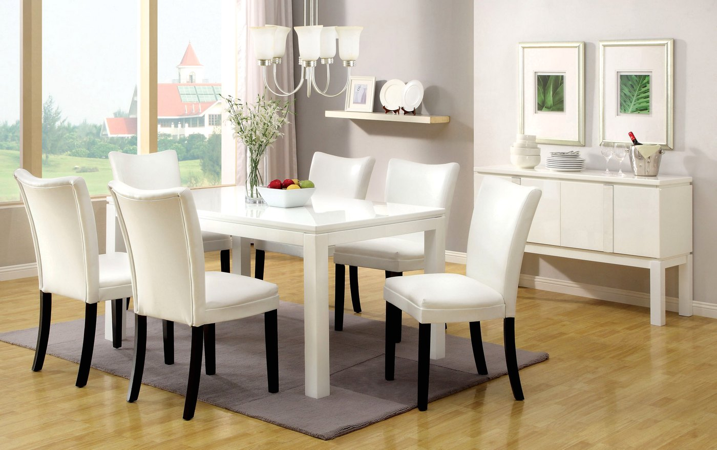 Lamia i contemporary white casual dining set with for White casual dining table
