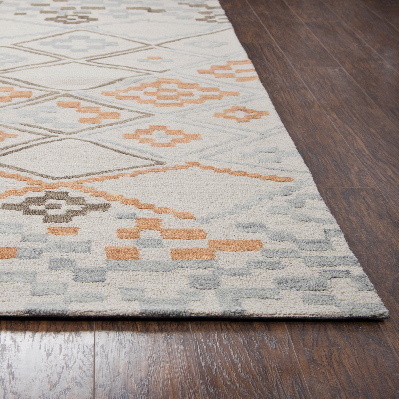 Lancaster abstract pixel wool runner rug in gray tan 2 for Grey and tan rug