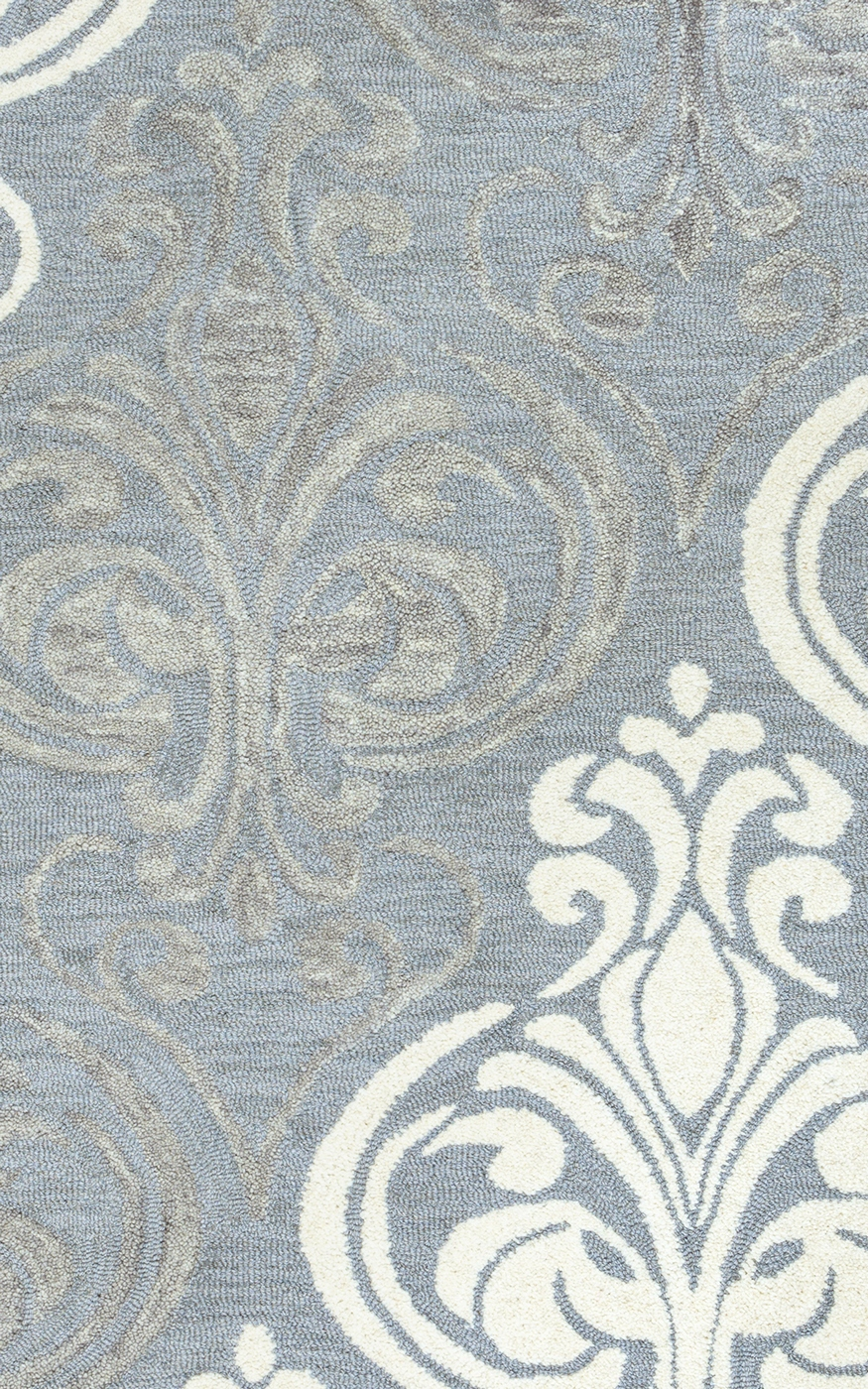Lancaster Crest Pattern Wool Area Rug In Blue Grey Silver