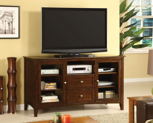 Lancaster Dark Walnut TV Console with Framed Glass Doors
