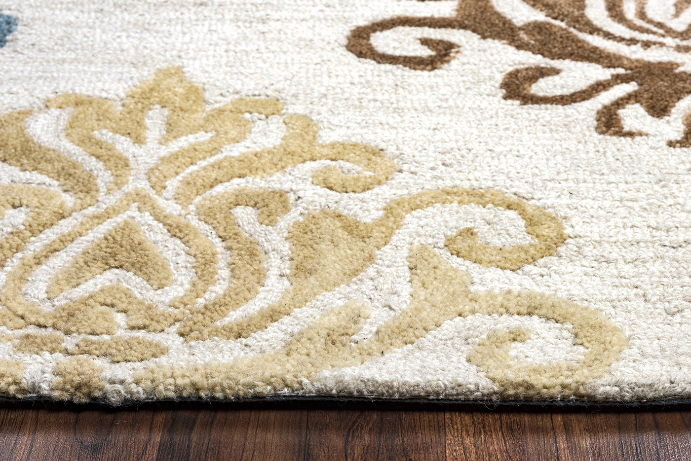 Lancaster Diamond Damask Wool Area Rug In Gold Brown Blue