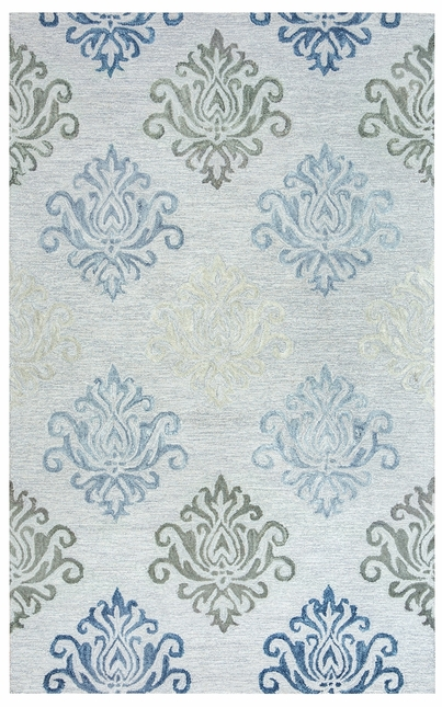 Lancaster Diamond Damask Wool Area Rug In Grey Off White