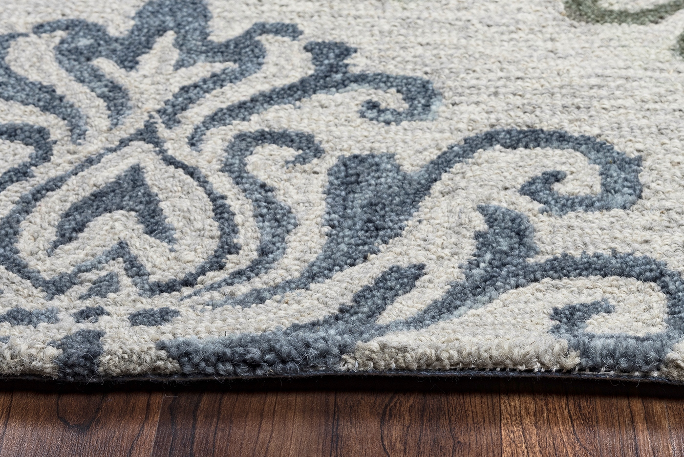 Grey And White Carpet Runner: Lancaster Diamond Damask Wool Runner Rug In Grey Off White