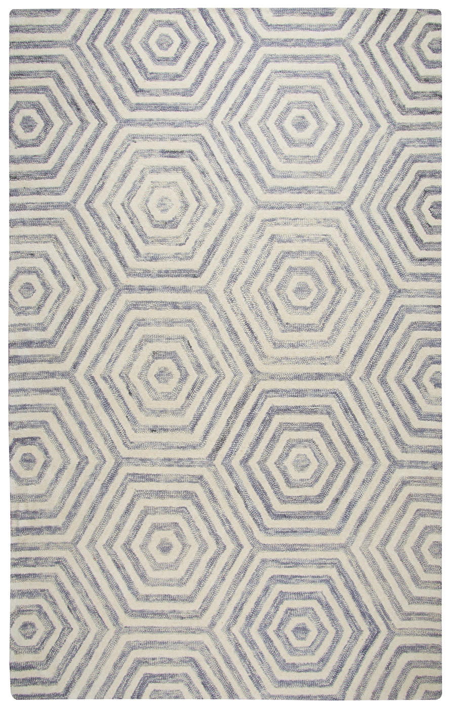 Lancaster Faded Hexagon Pattern Wool Area Rug In Light
