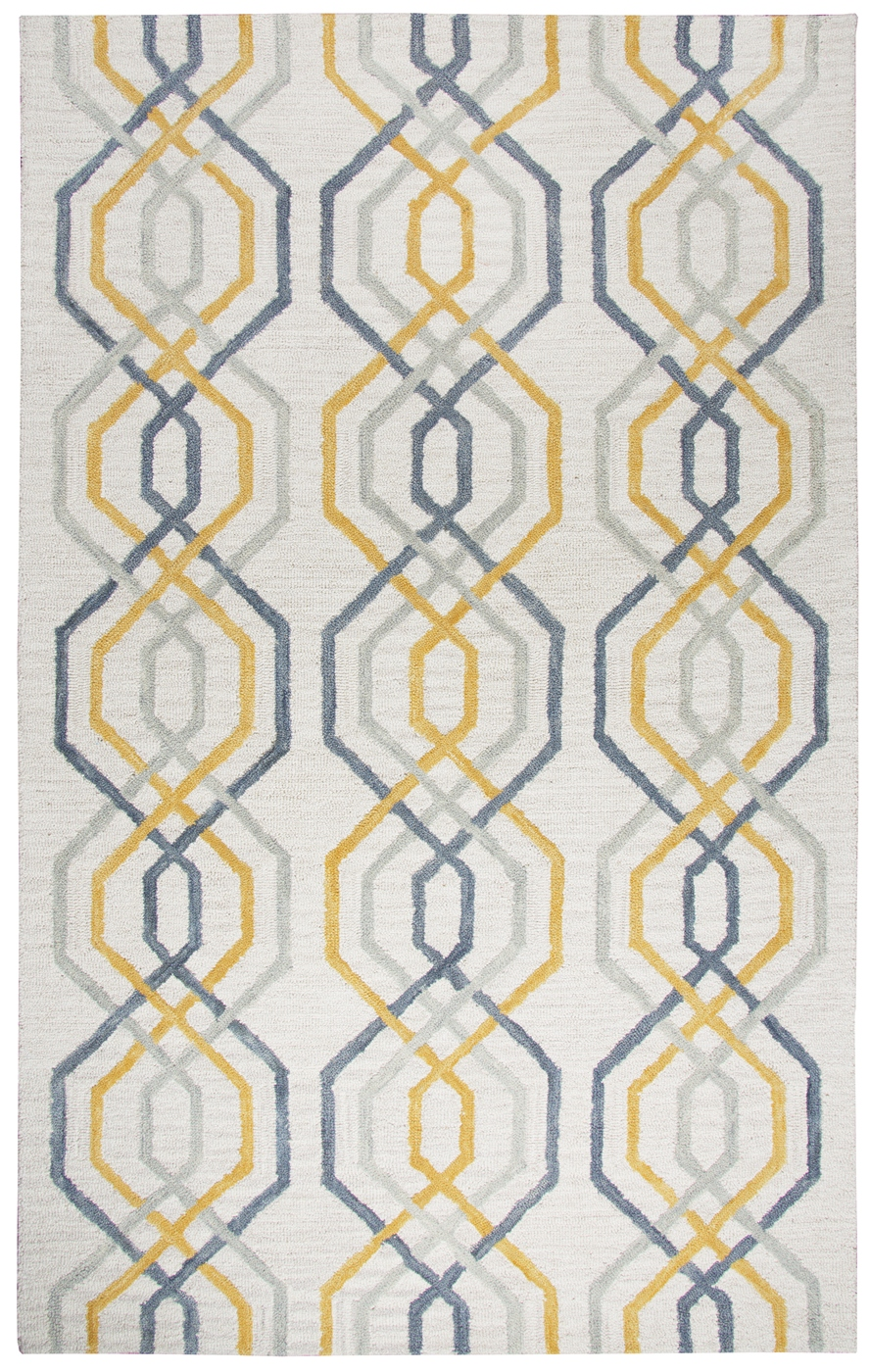 Lancaster Geometric Line Pattern Wool Area Rug In Cream