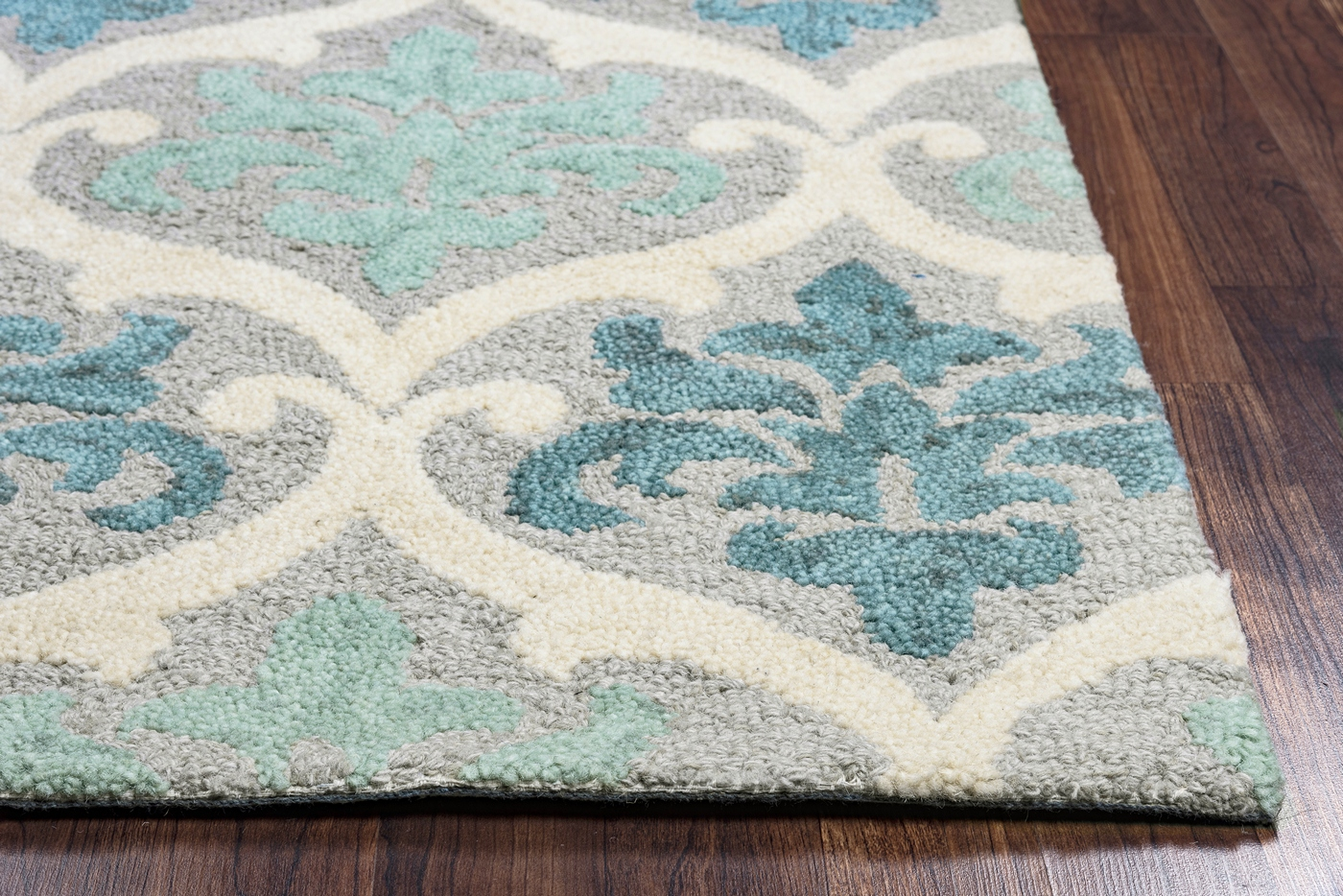Lancaster Ornate Damask Pattern Wool Area Rug In Blue