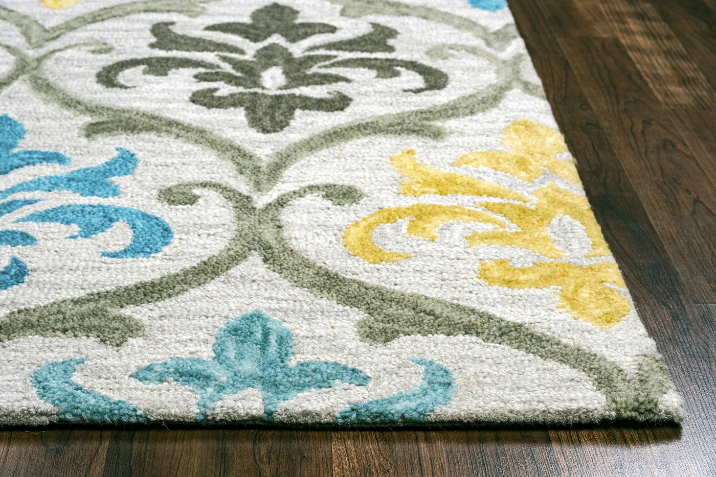 Lancaster Ornate Damask Wool Area Rug In Grey Silver Aqua