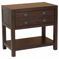 Lanchester Mahogany 2-Drawer Nightstand With Two Usb Outlets