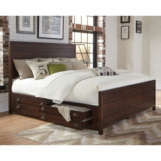 Lanchester Solid Mahogany King Storage Bed with Cocoa Acacia Finish