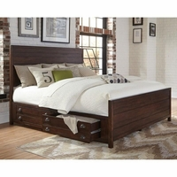 Lanchester Solid Mahogany Queen Storage Bed With Cocoa Acacia Finish