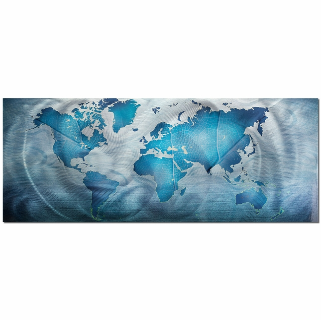 Land & Sea Blue World Map Metal Contemporary Wall Art L0039