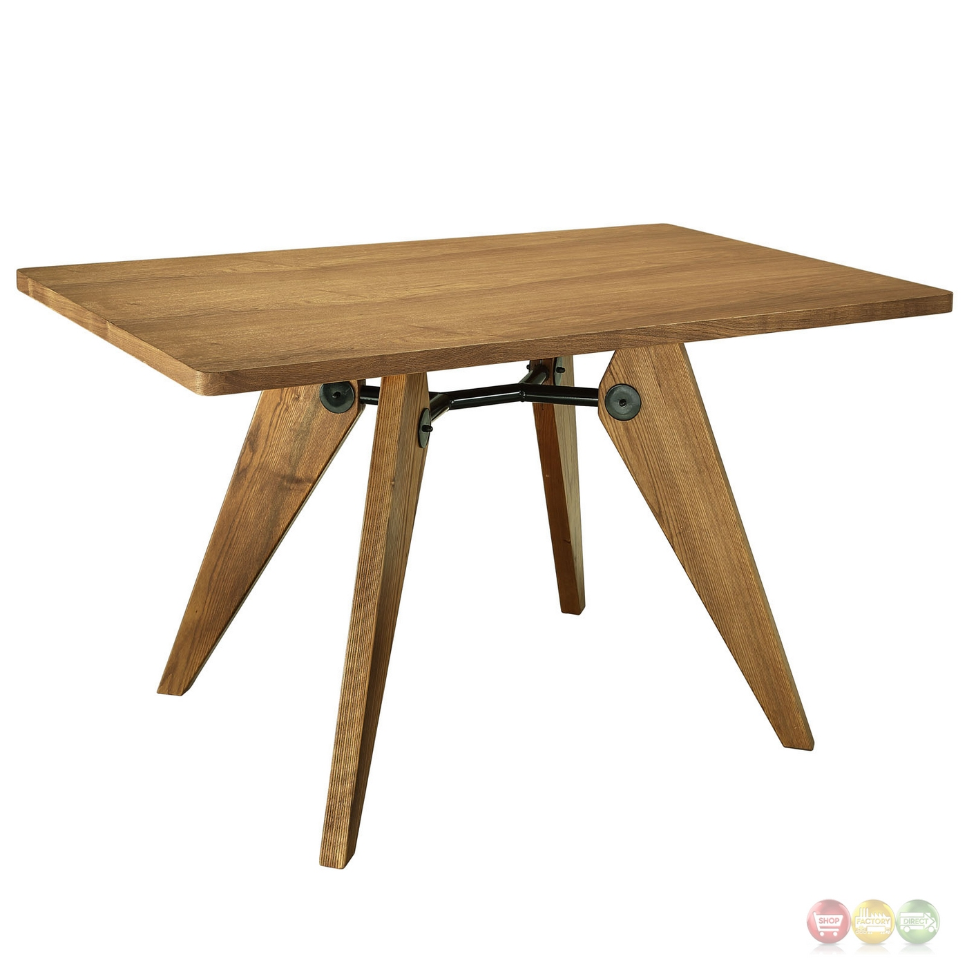 Landing 32 round dining table in natural wood finish w for Metal dining table