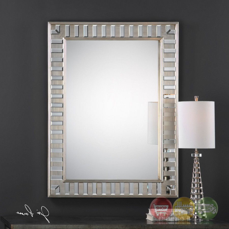 Lanester elegant beveled wall mirror with silver finished for Elegant mirrors