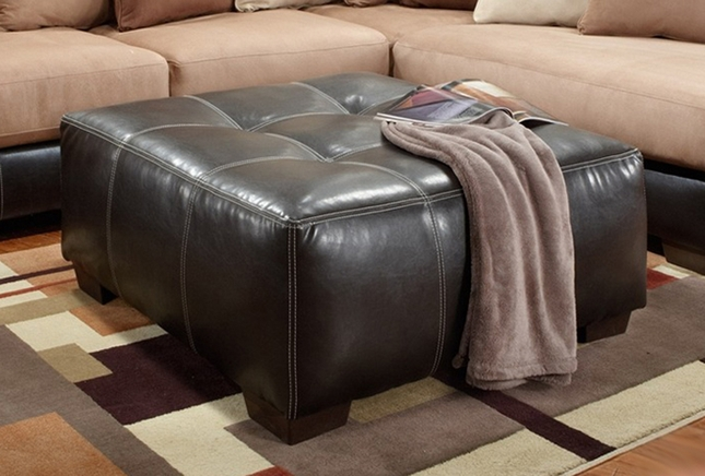 Large Square Tufted Dark Brown Bonded Leather Ottoman