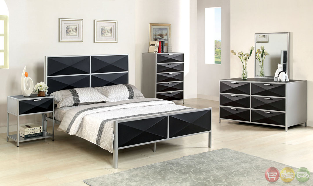 Largo contemporary silver and black youth bedroom set with for Youth bedroom furniture sets