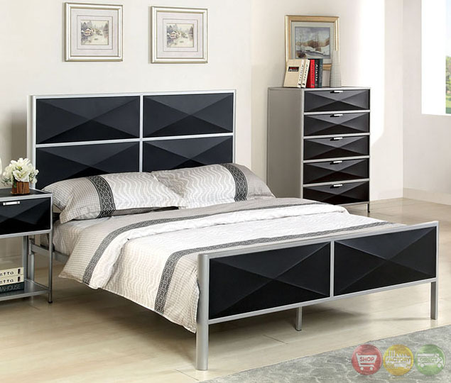 terrific black silver bedroom designs | Largo Contemporary Silver and Black Youth Bedroom Set with ...