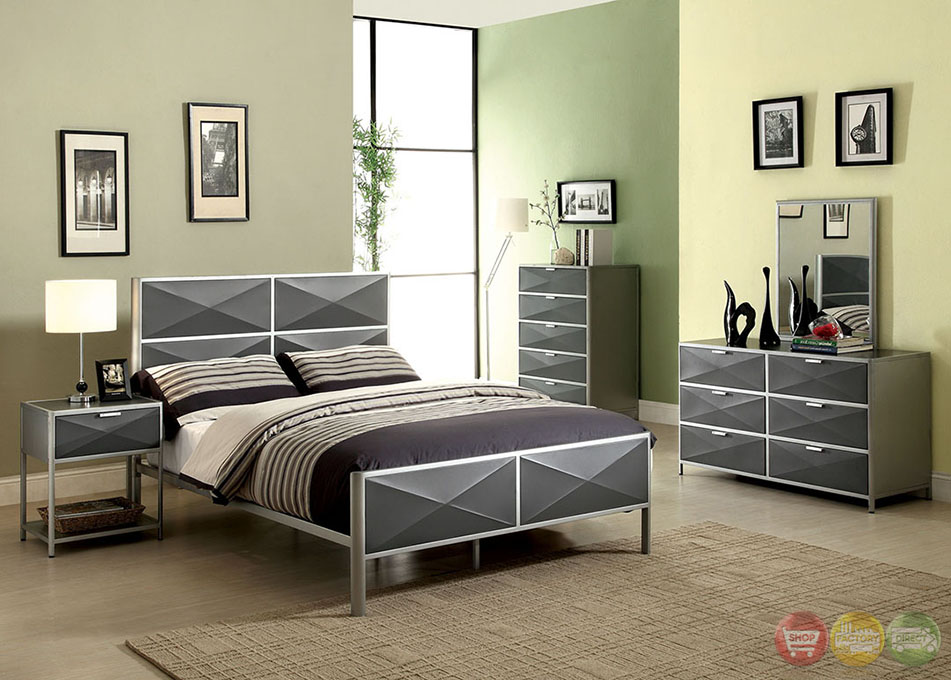 largo contemporary silver and dark gray youth bedroom set with x-shape design panels cm7163
