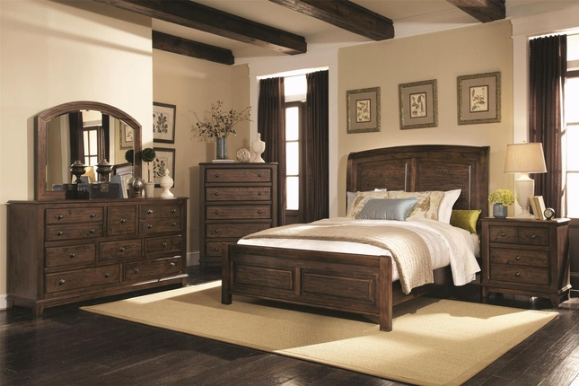 Laughton Rustic Style Cocoa Brown Finish Bedroom Set
