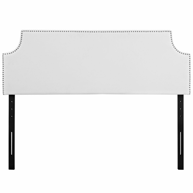 Laura King Vinyl Belgrave Headboard With Silver Nail Head, White