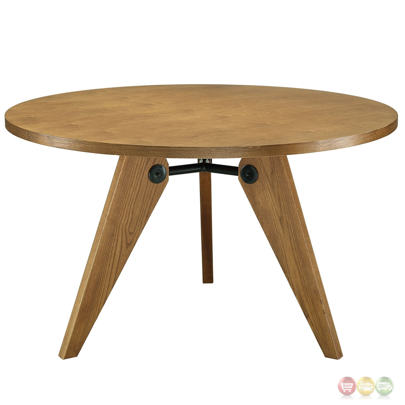 laurel 47 round dining table in natural wood finish walnut. Black Bedroom Furniture Sets. Home Design Ideas