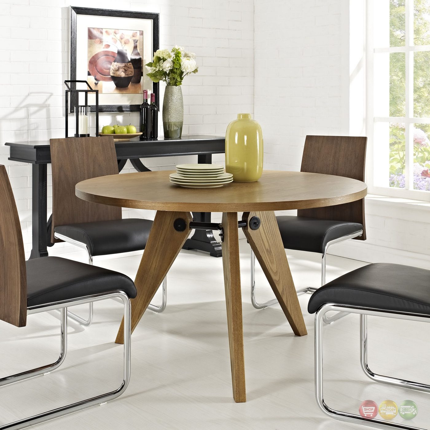 "Wood Round Dining Table: Laurel 47"" Round Dining Table In Natural Wood Finish, Walnut"