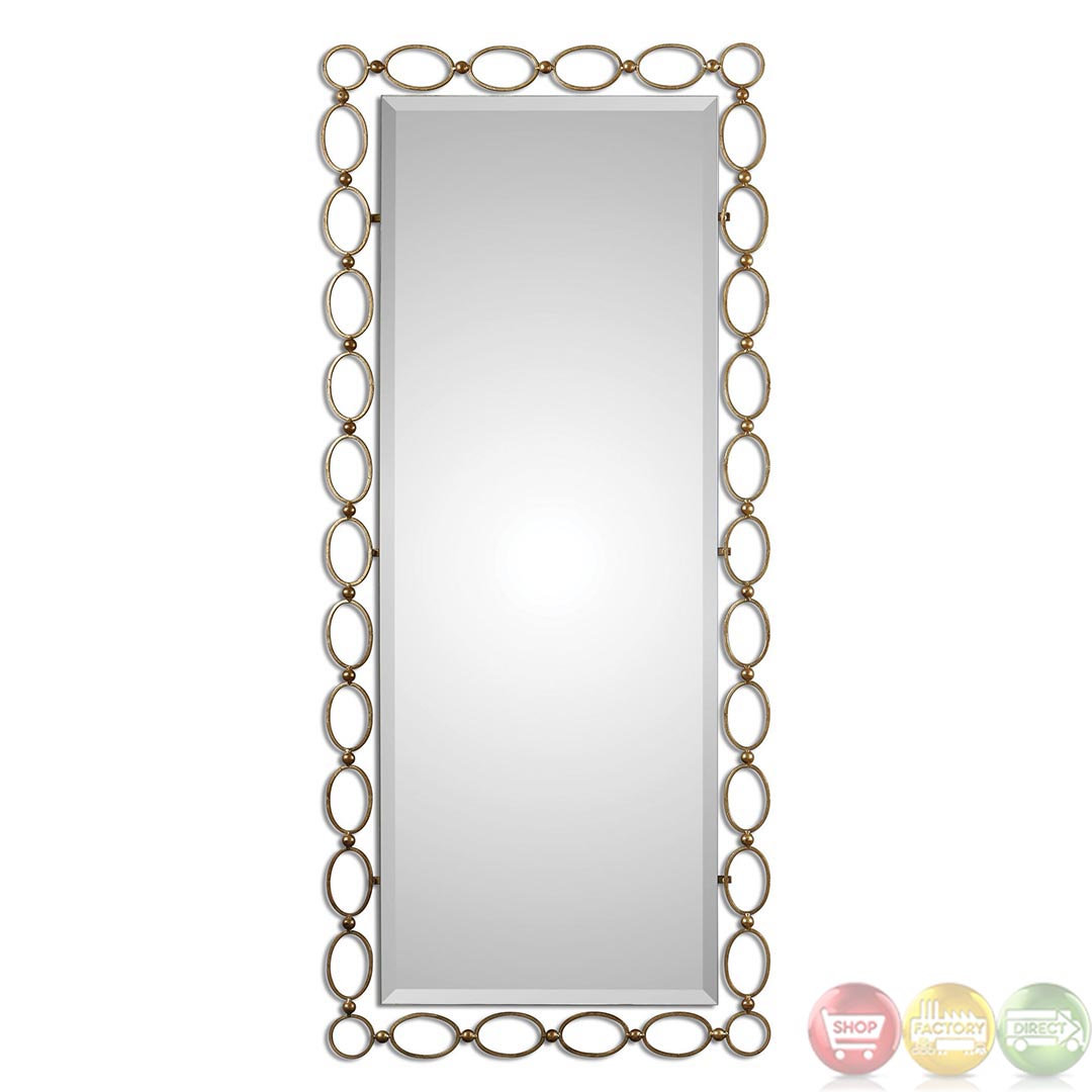 Lauria contemporary oval loop frame tall gold mirror 01124 for Tall gold mirror