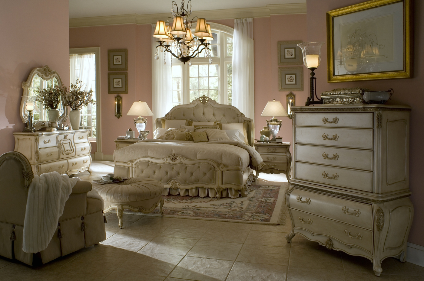 Antique white bedroom set aico bedroom set - White vintage bedroom furniture sets ...