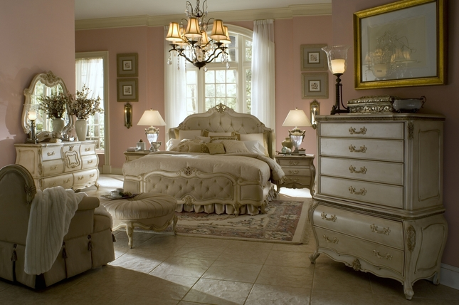 Michael Amini Lavelle Antique White Finish Luxury Bedroom Set By AICO