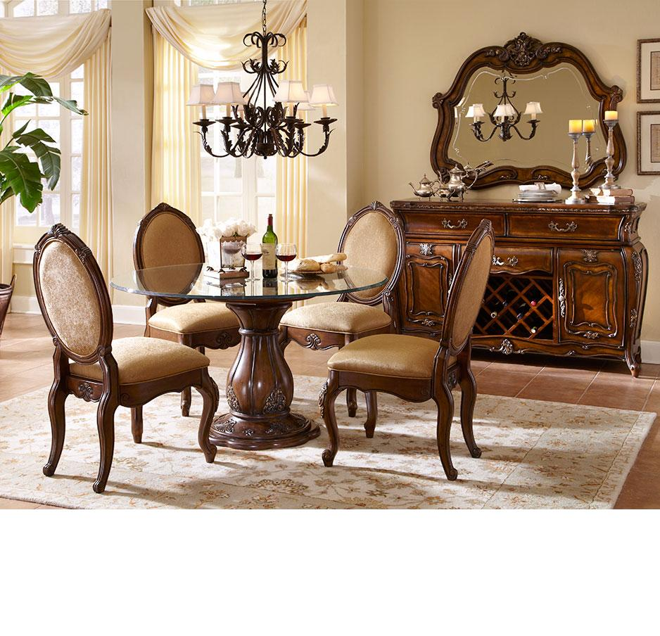 Michael amini lavelle melange finish round table dining for Round dining room sets