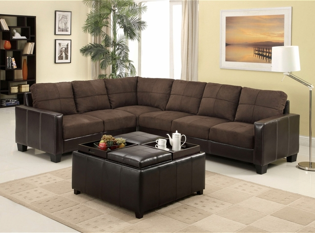 Lavena Contemporary Dark Brown Sectional Sofa Set