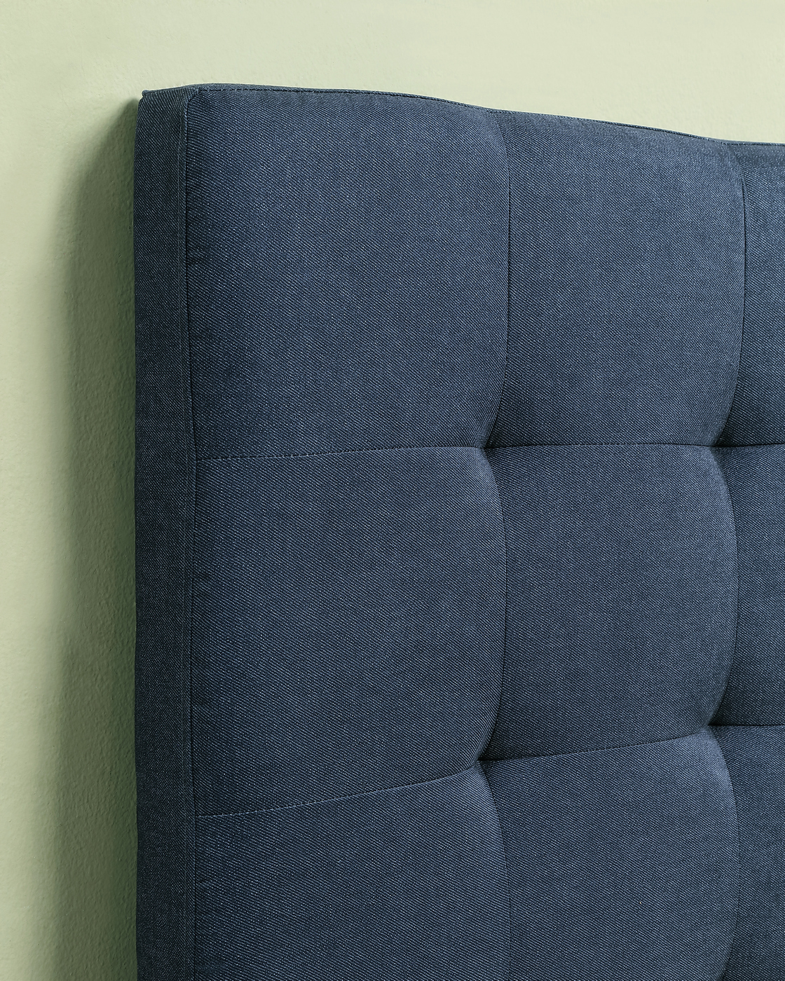 Laverne Biscuit Tufted King Headboard In Dark Wash Denim
