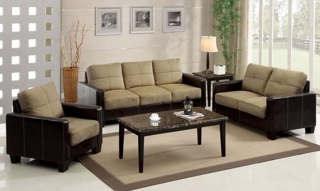 Laverne Tan and Espresso Living Room Set with Elephant Skin Microfiber