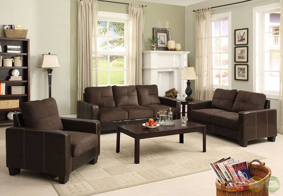 Laverne contemporary dark brown and espresso living room for Dark brown living room set